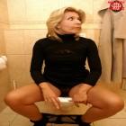 Blonde mature slut fucking and sucking on a public toilet