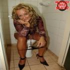 classy mature cunt getting cum on her face in the public bathroom