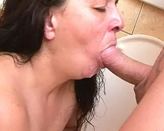 She drinks piss and eats ass aal on a public toilet